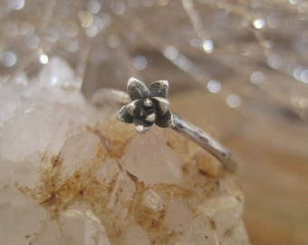 Sterling Silver Succulent Ring, Hammered Sterling Ring, Stacking Ring, Botanical Jewelry, Silver Ring