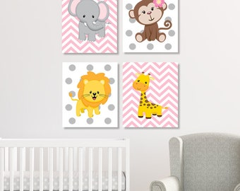 JUNGLE Nursery Wall Art, Prints Or Canvas, Pink Gray Nursery, ELEPHANT Monkey Giraffe Lion, Zoo SAFARI Animals, Baby Girl Decor, Set of 4