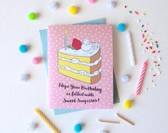 "Birthday Card  - ""Kitty Layered Cake"" - cute animal friendshipi love"