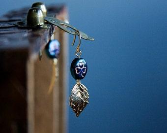 Teal Bead Leaf Earrings Three Leaf Clover Beads Golden Leaves Shamrock Beads Earrings Saint Patrick Earrings Leaf Dangle Earrings - E293