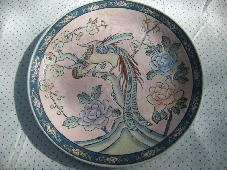?zoom & Vintage Japanese Porcelain Peacock PlateDecorative