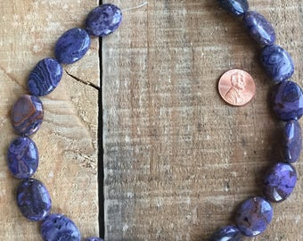 Purple Crazy Lace Agate 15mm x 20mm Oval beads, 16 inch strand