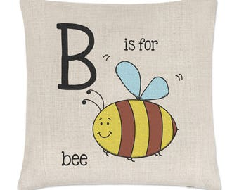 Letter B Is For Bee Linen Cushion Cover