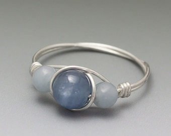 Blue Kyanite & Angelite Sterling Silver Wire Wrapped Ring - Made to Order, Ships Fast!