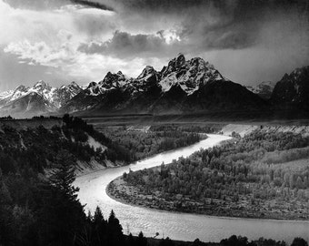 Ansel Adams- Grand Teton National Park- Snake River, Wyoming (1942)-  Old-Vintage Photograph Reproduction- Photo B&W