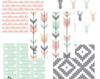 Pink Mint Gray Deer Arrow Custom Baby Girl Bedding- modern baby girl woodland arrow - sheet skirt rail guard quilt baby blanket valance