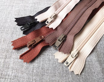 "SALE Sewing Support - Japanese YKK Nylon Zippers, Black, Golden Brown, Brown, Beige and Caramel Brown Pack Set Z03(5PCS, 3"" 8"" 10"")"