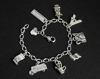 School Bracelet. School Charm Bracelet. Education Bracelet. Student Bracelet. Scholastic Bracelet. Silver Bracelet. Handmade Jewelry.