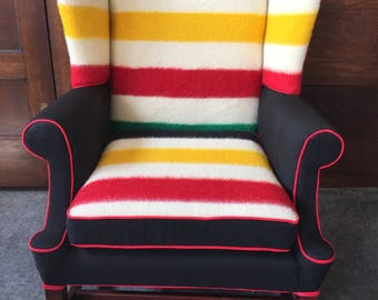Hudson Bay Blanket Wingback  Chair