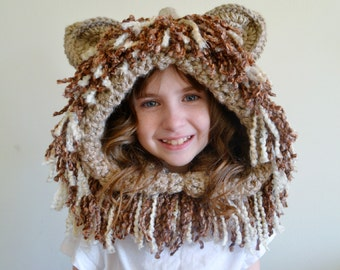 Lion Hat - Lion Hoodie - Lion Cowl - Animal Hat - Hooded Scarf - Crochet Hoodie - Chunky Crochet Hat - Animal Scarf