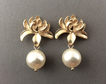 Gold Pearl Earrings With Matte Gold Lotus Flower And White Swarovski Crystal Pearls