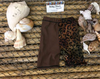3-6 months two tone animal print and brown spandex shorts , pants, kids clothes, baby items, toddlers clothes, childrens shorts, fun
