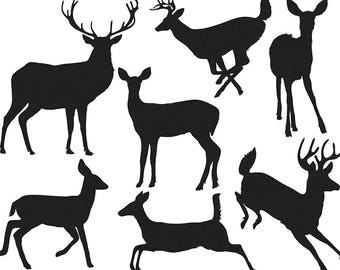 Deer Clip Art Silhouettes & Outlines, Buck and Doe Party,  Christmas Reindeer ClipArt, Animal ClipArt Digital Graphics, Deer PNG Images
