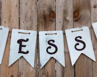 Distressed Blessed Wood Banner Blessed Banner Wood Banner Chalk Paint Banner White and Brown Banner Baby Banner Rustic Banner