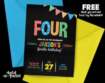 Rainbow Birthday Invitation, Any Age Birthday Invitation, Rainbow Chalkboard Birthday, Rainbow, Any Age, First Birthday, Second birthday
