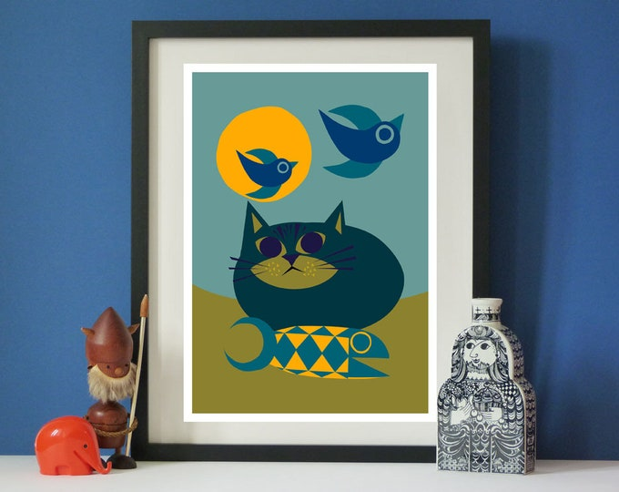 Beach cat by Jay Kaye  A3 print Bright Colourful print wall Art Fun