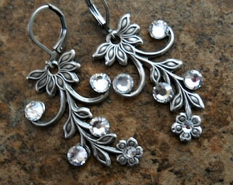 Antiqued Silver Vine and Swarovski Crystal Earrings, Wedding Jewelry, Prom Jewelry, Special Occasion Earrings