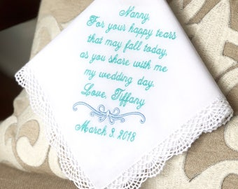 Grandmother of The Bride Handkerchief, Grandmother of the Groom - For Your HAPPY TEARS that may FALL- Gift - Hankie - Hankie - MisterandMrs