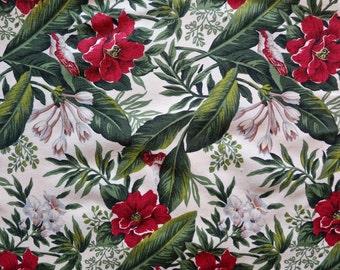 Vintage Tropical Flower Cotton Fabric - Quarter Yard