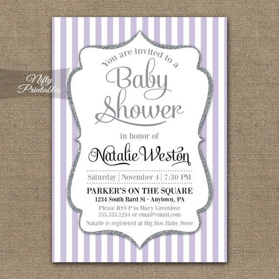 Lilac baby shower invitations printable silver purple baby like this item filmwisefo Choice Image