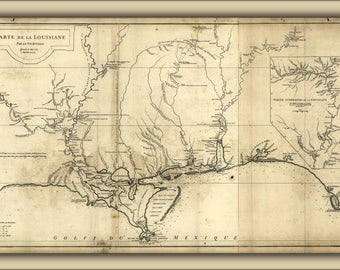 Poster, Many Sizes Available; 1752 Map Of New Orleans And Louisiana