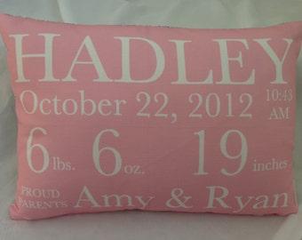 Birth Announcement Pillow baby gift birthday baby shower new baby baby girl baby boy baby pillow custom pillow owl pillow