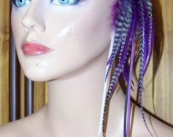 Feather Headband, White Feather Earrings,  Purple Suede Headband, Feather Headband,  Bohemian Headband, Adjustable Headband, Boho Headband