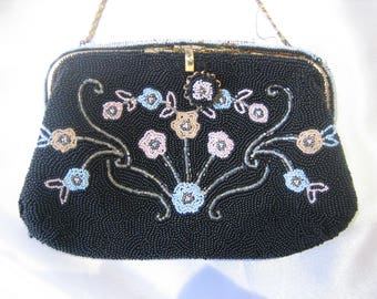 Vintage Black Beaded Evening Bag with Pastel Blue, Pink and Peach Flowers