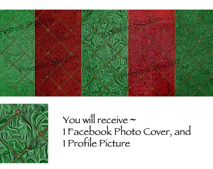 Red and Green Textured Diamonds ~ Facebook Blank Cover Photo and Profile Picture