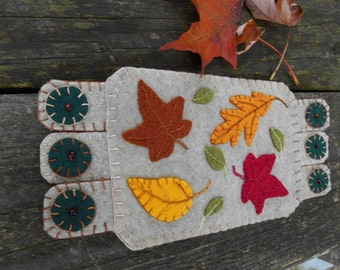 Fall Fiber Art, Autumn Embroidery, Embroidery Art, Drink Coaster, Autumn Leaves Coaster, Coffee mug rug