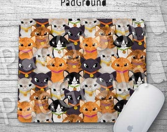 Cats Mouse Pad, Cute Cats Pattern, Mousepad, Computer Accessories, Natural Soft Fabric rubber backing Mouse Pad - BC06