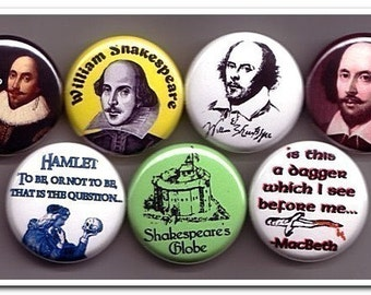 WILLIAM SHAKESPEARE buttons pins badges playwright romeo juliet othello macbeth hamlet button badges