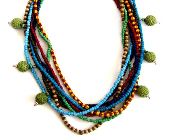 Multi-strand-Rainbow-Bead-Necklace, Chunky necklace, Statement necklace,  Bib necklace, Unique jewelry, Colorful necklace