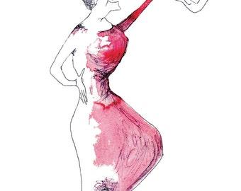 Art print postcard: Violin woman