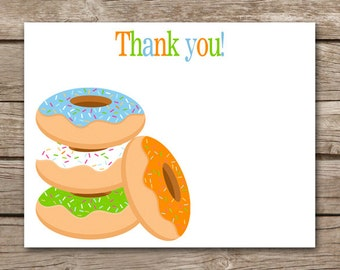 Donut Thank You Cards - Donut Party - Donut Birthday - Doughnut - Boy - INSTANT DOWNLOAD, PRINTABLE