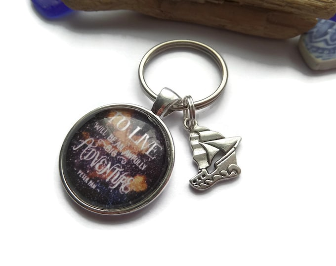 Peter pan keyring, peter pan gift, awfully big adventure, quote gift, pan party favors, big adventure keyring, fandom gift, sandykissesuk