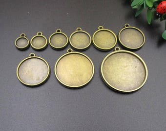 10Pcs Round Double Sided Cabochon Settings,Both Sides Can Paste Cabochons,Custom Sizes From 8mm To 30mm-b2022