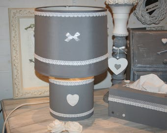 lamp white and grey shabby heart