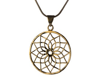 Mandala Circle Lotus Pendant - Necklace Sacred Geometry jewellery Yogi Jewelry Handmade Free UK delivery Gift Boxed + Gift Bag BP2