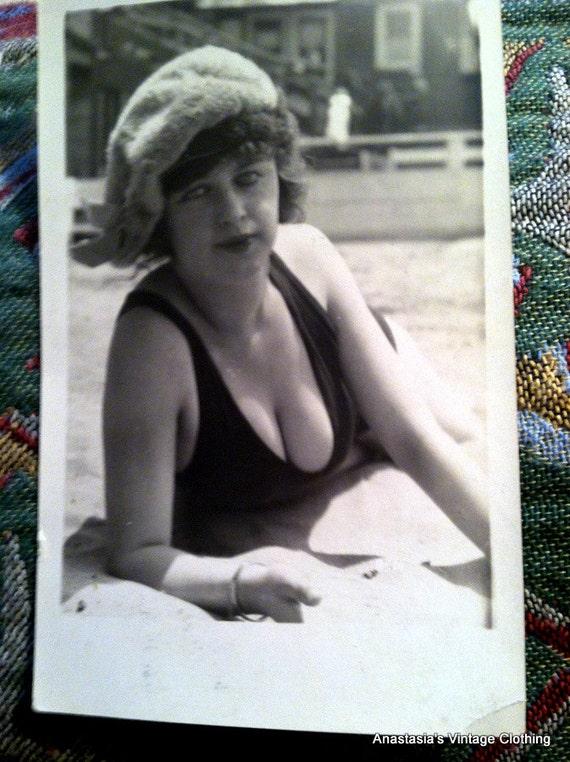 Vintage 1920s Mack Sennett Beauty on the Beach Flapper in Bathing Suit Postcard