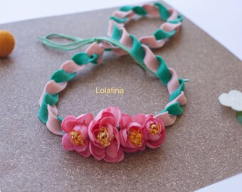 Pink and teal felt necklace...tropical necklace