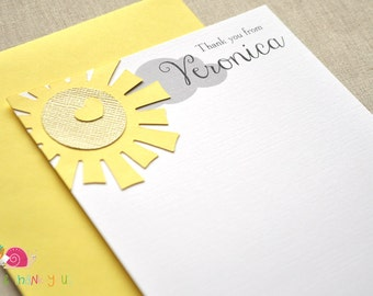 Sunshine Personalized Stationery · A2 FLAT · Red and Black · Coordinating Thank You Notes for You are My Sunshine Invitations