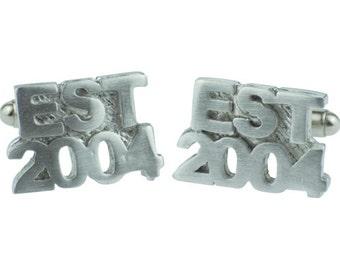 Established 2004 14th Wedding Anniversary Cuff links - EST 2004 - Handmade & Unique Cufflinks for 14 Year Gift