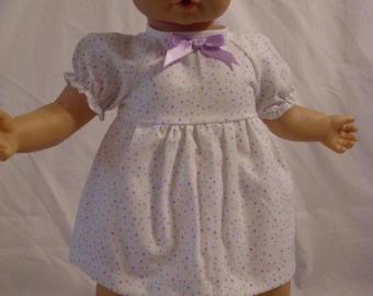 "17-18"" White with Pastel Polk-a-Dot Print Dress and Panty Set"