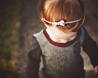 Mini Bow Headband, Baby Headband, Black Polka Dot Bow, Nylon Headband, Tiny Baby Bow, Newborn Headband, Baby Shower Gift, Baby Accessory