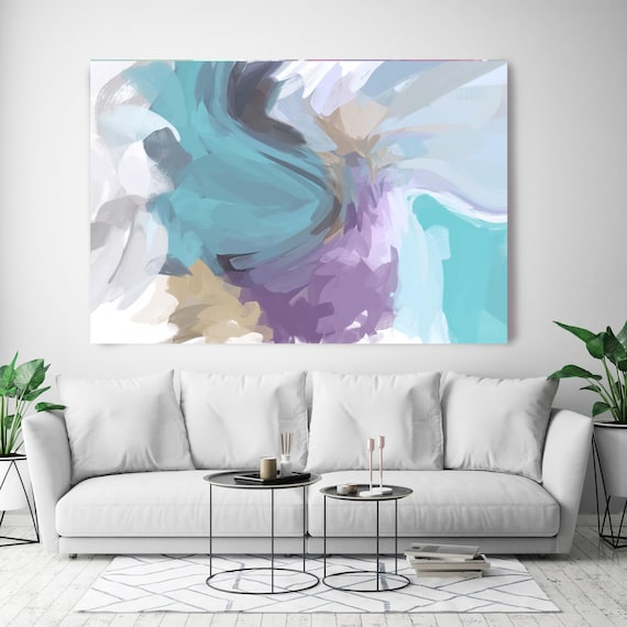 """The Color Movement 5, Abstract Painting Modern Wall Art Painting Canvas Art Print Art Modern Yellow Purple Blue up to 80"""" by Irena Orlov"""