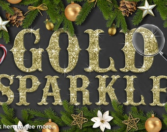 Alpha - Glitter Gold Alphabet Clipart - Gold Sparkle / Wedding / Christmas Alphabet Clip Art / Digital Clipart - Instant Download