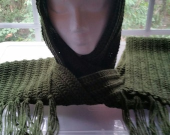 Forest green crocheted scarf with fringe
