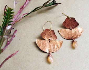 Vista Earrings - Copper and Peach Moonstone Earrings - Empowering Jewelry - Rose, Pink, Blush, Peach, Copper Earrings