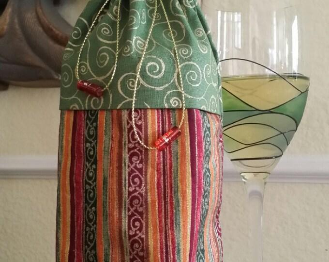 Wine Bag-Deluxe-Glitter Collection (Green n' Gold Swirls n' Multi Stripe)